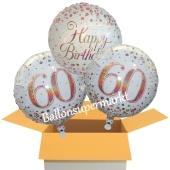 3 Luftballons aus Folie zum 60. Geburtstag, Sparkling Fizz Birthday Roségold 60
