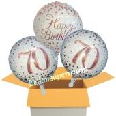 3 Luftballons aus Folie zum 70. Geburtstag, Sparkling Fizz Birthday Roségold 70