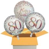 3 Luftballons aus Folie zum 80. Geburtstag, Sparkling Fizz Birthday Roségold 80
