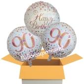 3 Luftballons aus Folie zum 90. Geburtstag, Sparkling Fizz Birthday Roségold 90