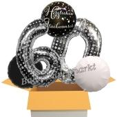5 Luftballons zum 60. Geburtstag, Sparkling Celebration Herzlichen Glückwunsch Silver Dots 60