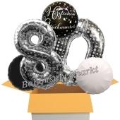 5 Luftballons zum 80. Geburtstag, Sparkling Celebration Herzlichen Glückwunsch Silver Dots 80