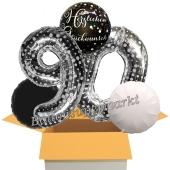 5 Luftballons zum 90. Geburtstag, Sparkling Celebration Herzlichen Glückwunsch Silver Dots 90