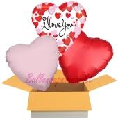 Hearts Equal Love, I Love You, 3 Stück Luftballons aus Folie als Liebesbotschaft, inklusive Helium