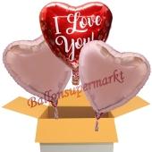 I Love you Rose Gold Hearts, 3 Stück Luftballons aus Folie als Liebesbotschaft, inklusive Helium