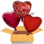 Ich liebe Dich Rot/Burgund, 3 Stück Luftballons aus Folie als Liebesbotschaft, inklusive Helium