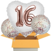 3 Luftballons zum 16. Geburtstag, Jumbo 3D Sparkling Fizz Birthday Rosegold 16