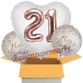 3 Luftballons zum 21. Geburtstag, Jumbo 3D Sparkling Fizz Birthday Rosegold 21