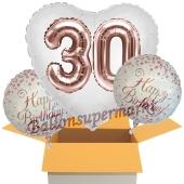 3 Luftballons zum 30. Geburtstag, Jumbo 3D Sparkling Fizz Birthday Rosegold 30