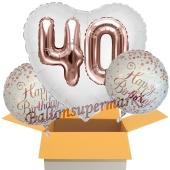 3 Luftballons zum 40. Geburtstag, Jumbo 3D Sparkling Fizz Birthday Rosegold 40