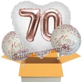 3 Luftballons zum 70. Geburtstag, Jumbo 3D Sparkling Fizz Birthday Rosegold 70
