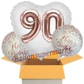 3 Luftballons zum 90. Geburtstag, Jumbo 3D Sparkling Fizz Birthday Rosegold 90