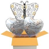 3 Hochzeitsballons, Schmetterling & Just Married, Luftballons zur Hochzeit, Just Married, holografisch, inklusive Ballongas Helium