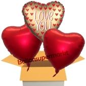 Love You Satin Gold, 3 Stück Luftballons aus Folie als Liebesbotschaft, inklusive Helium