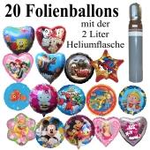 Ballons und Helium Midi Set, 20 Folienballons, 45 cm, 2 Liter Ballongas