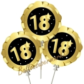 Mini-Folienballons Zahl 18 Schwarz-Gold, selbstaufblasend, 3 Stück