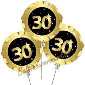 Mini-Folienballons Zahl 30 Schwarz-Gold, selbstaufblasend, 3 Stück