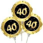 Mini-Folienballons Zahl 40 Schwarz-Gold, selbstaufblasend, 3 Stück