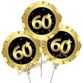 Mini-Folienballons Zahl 60 Schwarz-Gold, selbstaufblasend, 3 Stück