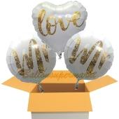 3 Hochzeitsballons, Mr & Mr in Love Gold-Glitter, inklusive Ballongas Helium