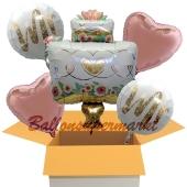 5 Hochzeitsballons, Mr & Mr Wedding Cake, inklusive Ballongas Helium