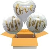 3 Hochzeitsballons, Mr & Mrs in Love Gold-Glitter, inklusive Ballongas Helium