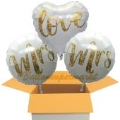 3 Hochzeitsballons, Mrs & Mrs in Love Gold-Glitter, inklusive Ballongas Helium