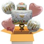 5 Hochzeitsballons, Mrs & Mrs Wedding Cake, inklusive Ballongas Helium