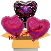 Happy Valentines Day Pink Celebration, 3 Stück Luftballons aus Folie als Valentinsbotschaft, inklusive Helium