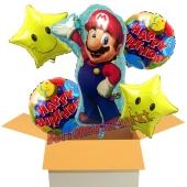 Luftballon-Bouquet Super Mario, 5 Folienballons zum Kindergeburtstag mit Helium