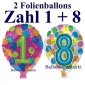 Zahlendekoration aus Luftballons zum 18. Geburtstag, Folienballons mit Helium, Zahl 1 und 8