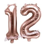Zahlen-Luftballons aus Folie, Zahl 12 zum 12. Geburtstag und Jubiläum, Rosegold, 35 cm