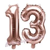 Zahlen-Luftballons aus Folie, Zahl 13 zum 13. Geburtstag und Jubiläum, Rosegold, 35 cm