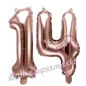 Zahlen-Luftballons aus Folie, Zahl 14 zum 14. Geburtstag und Jubiläum, Rosegold, 35 cm