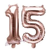 Zahlen-Luftballons aus Folie, Zahl 15 zum 15. Geburtstag und Jubiläum, Rosegold, 35 cm