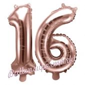 Zahlen-Luftballons aus Folie, Zahl 16 zum 16. Geburtstag und Jubiläum, Rosegold, 35 cm