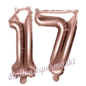 Zahlen-Luftballons aus Folie, Zahl 17 zum 17. Geburtstag und Jubiläum, Rosegold, 35 cm