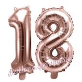 Zahlen-Luftballons aus Folie, Zahl 18 zum 18. Geburtstag und Jubiläum, Rosegold, 35 cm