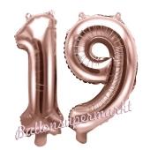 Zahlen-Luftballons aus Folie, Zahl 19 zum 19. Geburtstag und Jubiläum, Rosegold, 35 cm