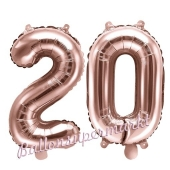 Zahlen-Luftballons aus Folie, Zahl 20 zum 20. Geburtstag und Jubiläum, Rosegold, 35 cm