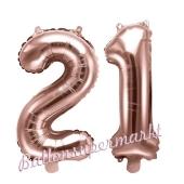Zahlen-Luftballons aus Folie, Zahl 21 zum 21. Geburtstag und Jubiläum, Rosegold, 35 cm