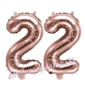 Zahlen-Luftballons aus Folie, Zahl 22 zum 22. Geburtstag und Jubiläum, Rosegold, 35 cm