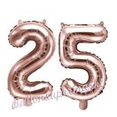 Zahlen-Luftballons aus Folie, Zahl 25 zum 25. Geburtstag und Jubiläum, Rosegold, 35 cm