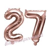 Zahlen-Luftballons aus Folie, Zahl 27 zum 27. Geburtstag und Jubiläum, Rosegold, 35 cm