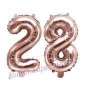 Zahlen-Luftballons aus Folie, Zahl 28 zum 28. Geburtstag und Jubiläum, Rosegold, 35 cm