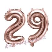 Zahlen-Luftballons aus Folie, Zahl 29 zum 29. Geburtstag und Jubiläum, Rosegold, 35 cm