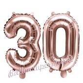 Zahlen-Luftballons aus Folie, Zahl 30 zum 30. Geburtstag und Jubiläum, Rosegold, 35 cm