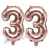 Zahlen-Luftballons aus Folie, Zahl 33 zum 33. Geburtstag und Jubiläum, Rosegold, 35 cm