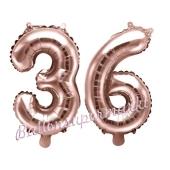 Zahlen-Luftballons aus Folie, Zahl 36 zum 36. Geburtstag und Jubiläum, Rosegold, 35 cm