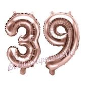Zahlen-Luftballons aus Folie, Zahl 39 zum 39. Geburtstag und Jubiläum, Rosegold, 35 cm